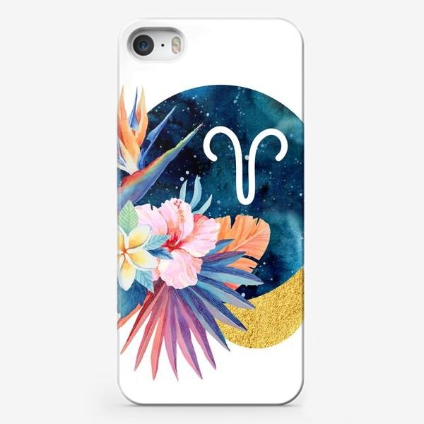 Чехол iPhone «Подарок для ОВНА Тропические цветы»
