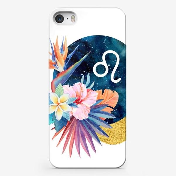 Чехол iPhone «Подарок для ЛЬВА Тропические цветы»