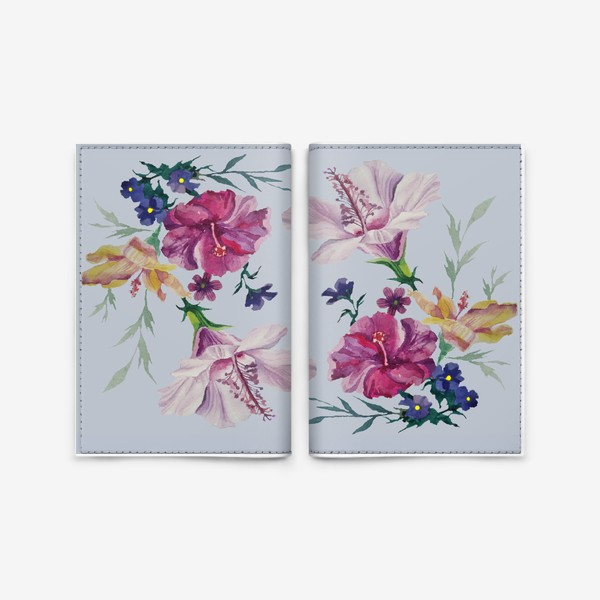 Обложка для паспорта «Акварельные букеты цветов на сером фоне»