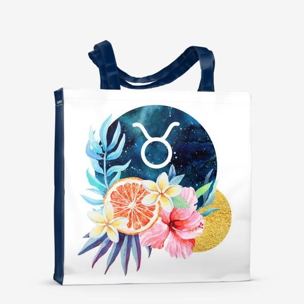 Сумка-шоппер «Подарок для ТЕЛЬЦА Тропические цветы»