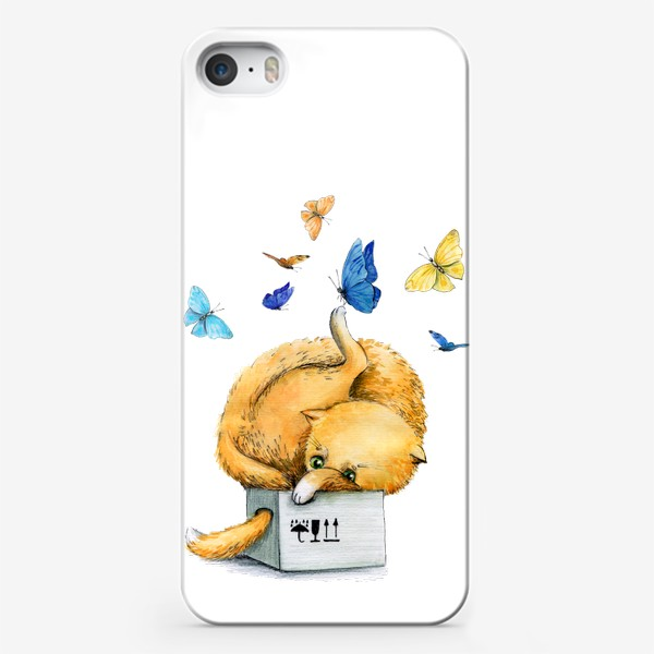 Чехол iPhone «Котойога с бабочками»