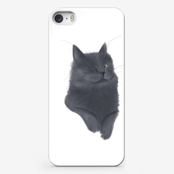 Чехол iPhone «Серый пушистый кот»