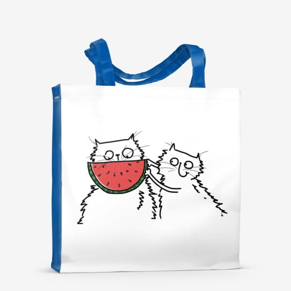 Сумка-шоппер «Коты. Улыбка-арбуз»