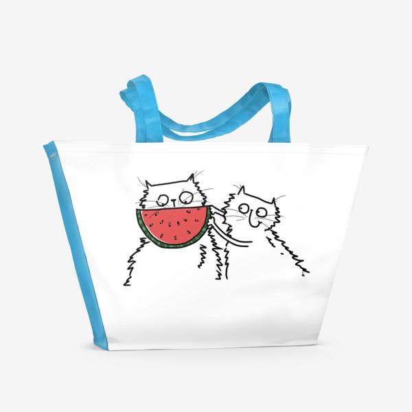 Пляжная сумка «Коты. Улыбка-арбуз»