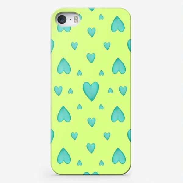 Чехол iPhone «Мятные сердечки на зеленом фоне Паттерн Узор на фоне цвет лайм»