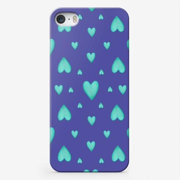 Чехол iPhone «Мятные сердечки на фиолетовом фоне Паттерн Яркий узор»