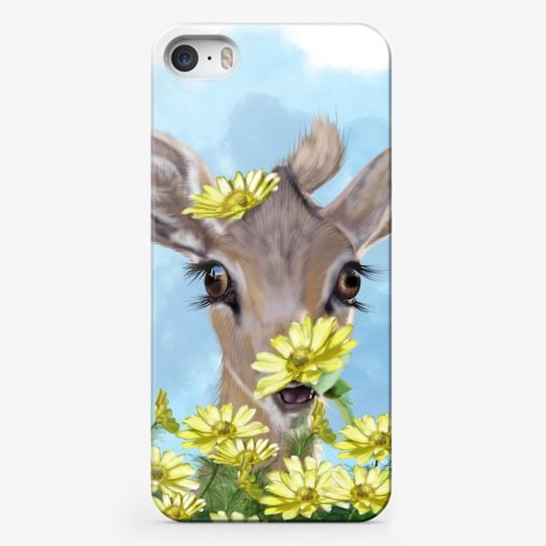 Чехол iPhone «Лань в цветах »