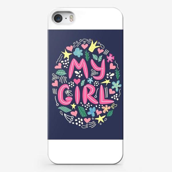 """Чехол iPhone «Леттеринг """"Моя девочка"""" в сердечках и цветах на темном фоне»"""