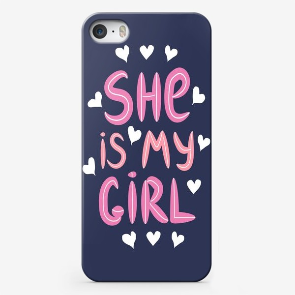 """Чехол iPhone «Леттеринг """"Моя девочка"""" в сердечках на темном фоне»"""