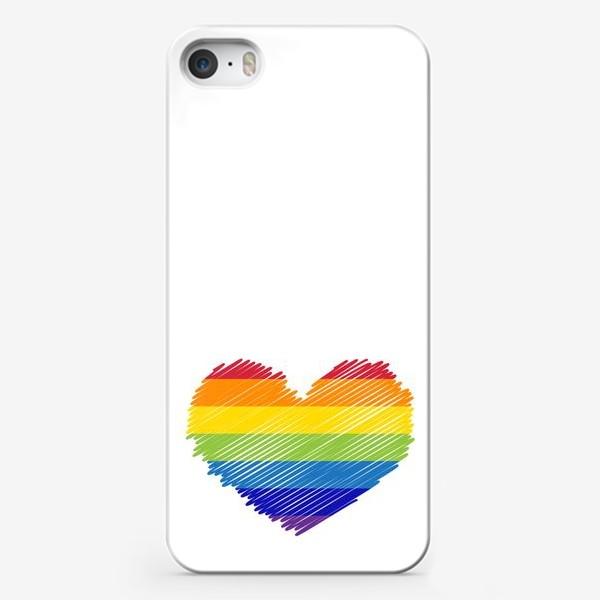 Чехол iPhone «Радужное сердечко, радость»