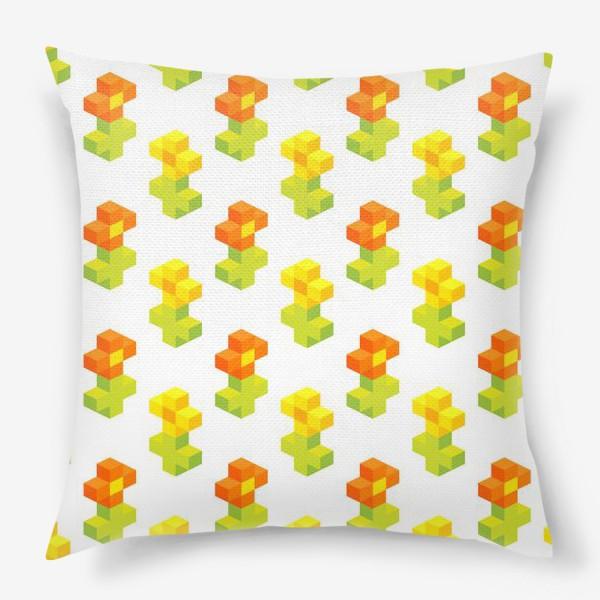 Подушка «Цветочки. Пиксель-арт.»