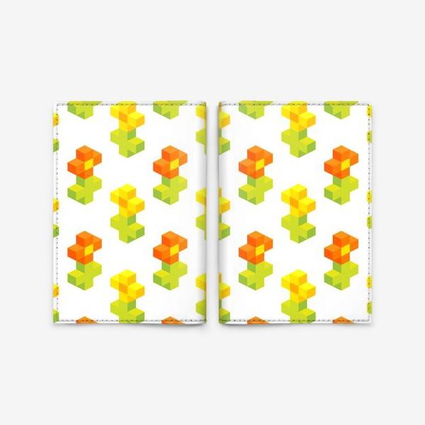 Обложка для паспорта «Цветочки. Пиксель-арт.»