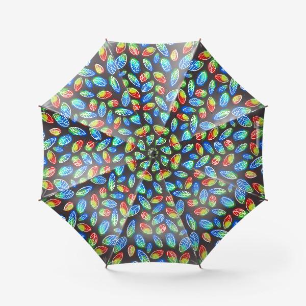 Зонт «Яркие листья на черном фоне.   паттерн с листьямию Осенний узор»