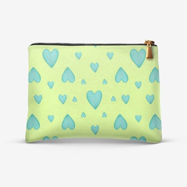 Косметичка «Мятные сердечки на зеленом фоне Паттерн Узор на фоне цвет лайм»