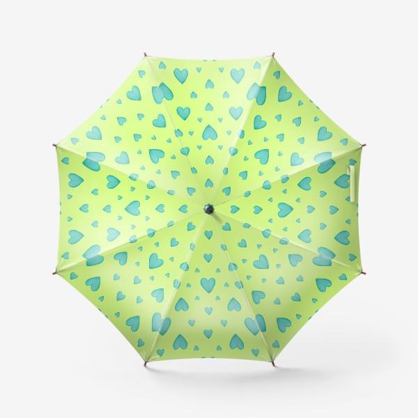 Зонт «Мятные сердечки на зеленом фоне Паттерн Узор на фоне цвет лайм»
