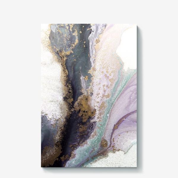 Холст «Растительная абстракция с золотом в серо-зеленых, фиолетовых и розовых цветах»