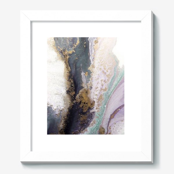 Картина «Растительная абстракция с золотом в серо-зеленых, фиолетовых и розовых цветах»