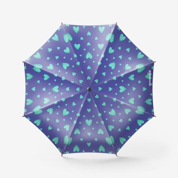 Зонт «Мятные сердечки на фиолетовом фоне Паттерн Яркий узор»
