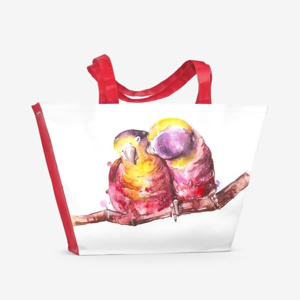 Пляжная сумка «попугай любовь»