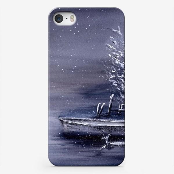 Чехол iPhone «Зимний пейзаж озеро и лодка»