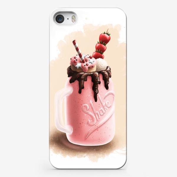 Чехол iPhone «Молочный клубничный коктейль»