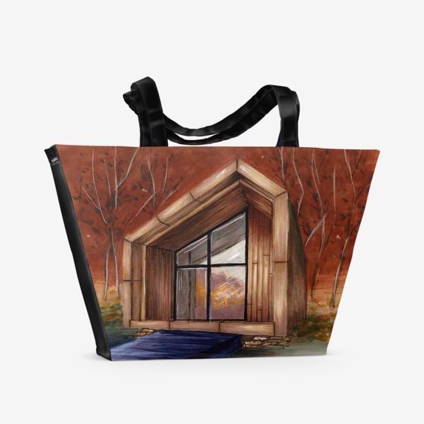 Пляжная сумка «Домик на берегу озера»