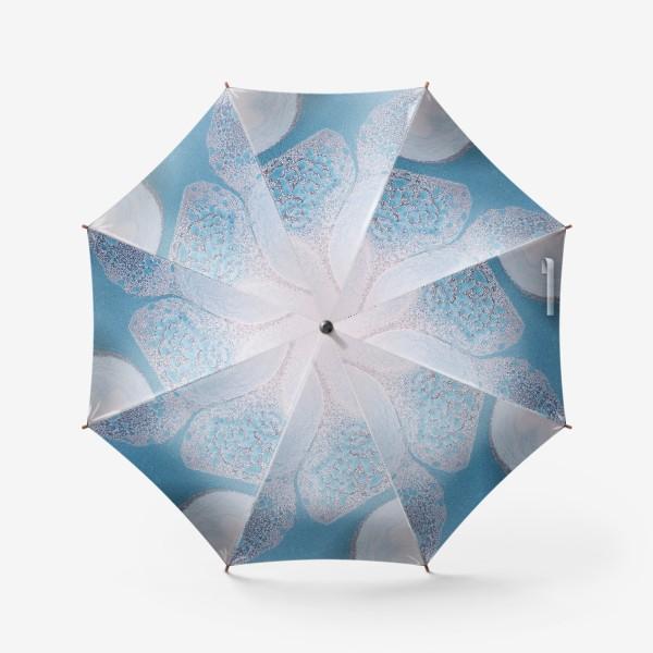 Зонт «сине голубая абстракция с серебрянной пылью на белом фоне»