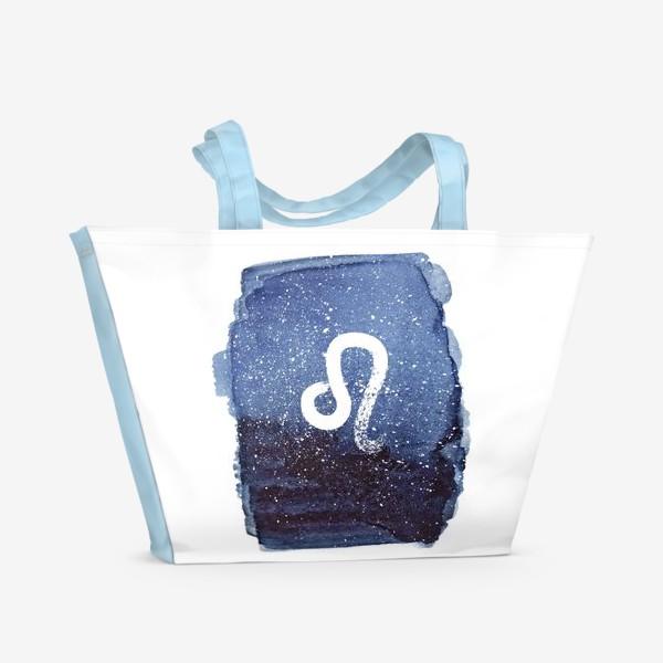 Пляжная сумка «Лев. Акварельный космос»