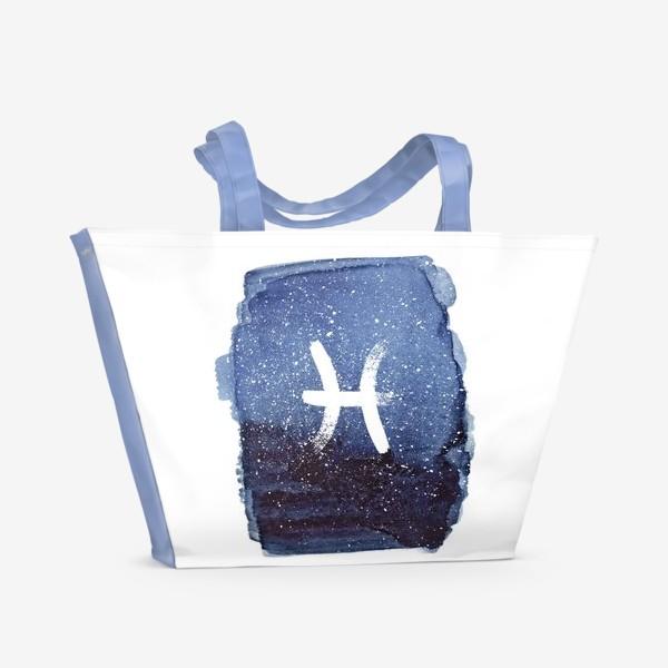 Пляжная сумка «Рыбы. Акварельный космос»