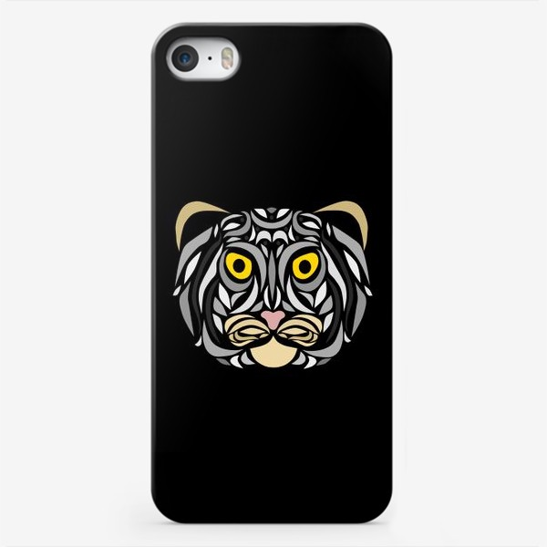 Чехол iPhone «Манул на черном»