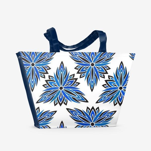 Пляжная сумка «Синие абстрактные цветы»