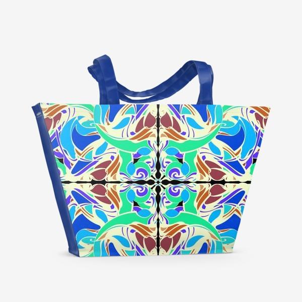 Пляжная сумка «Абстрактный голубой узор в восточном стиле, паттерн в стиле модерн, мандала, орнамент»