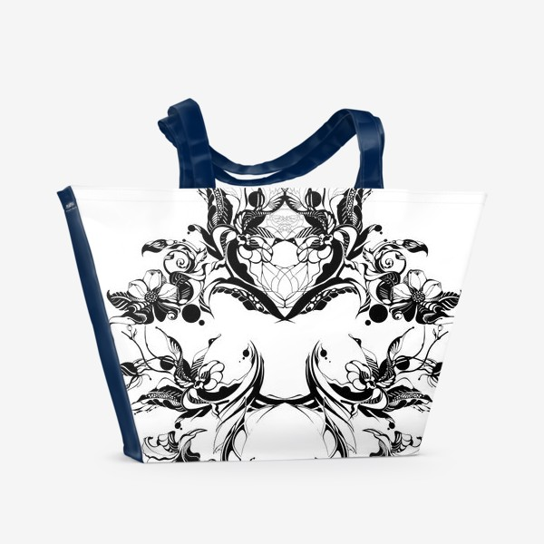 Пляжная сумка «Абстрактный узор из цветов на белом фоне, венок в стиле модерн»
