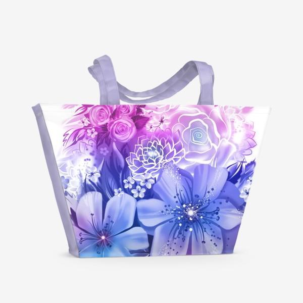 Пляжная сумка «Голубой букет с розами и ромашками»