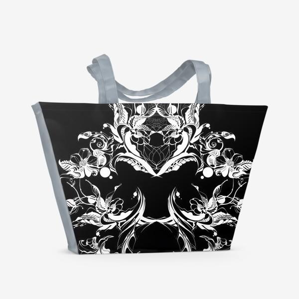 Пляжная сумка «Абстрактные цветы на черном фоне»