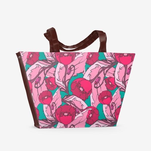 Пляжная сумка «Паттерн с красными маками»