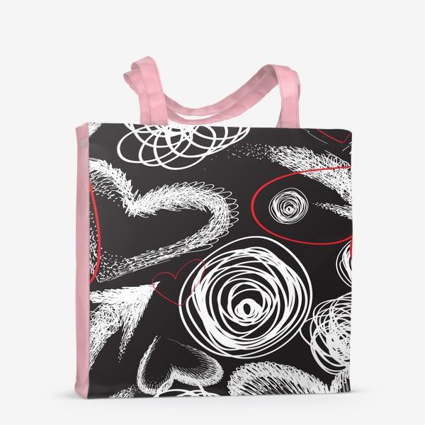 Сумка-шоппер «Текстура с дудлами, стрелками и сердечками»