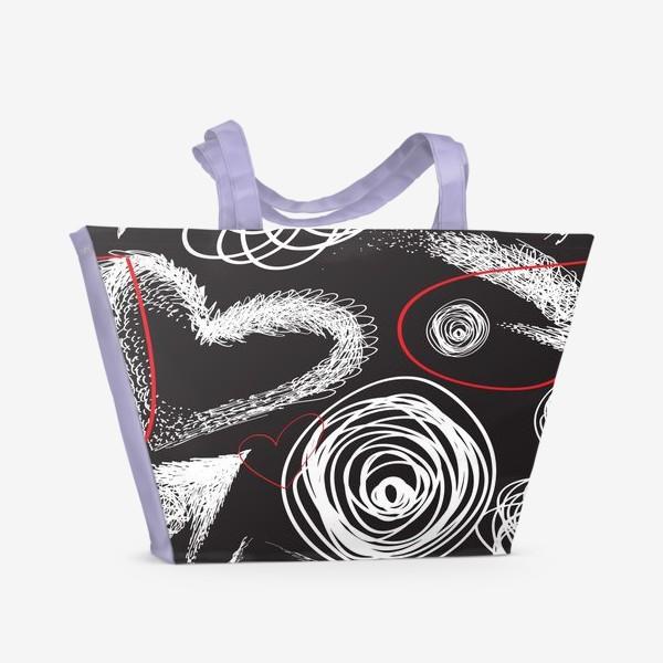 Пляжная сумка «Текстура с дудлами, стрелками и сердечками»