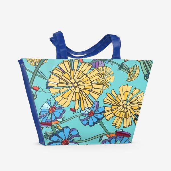 Пляжная сумка «Паттерн с одуванчиками»