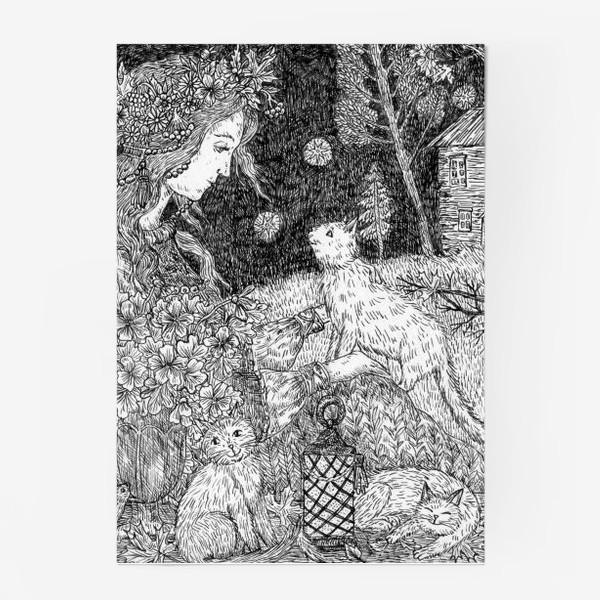 Постер «Девушка и кошки»