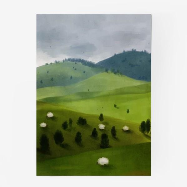 Постер «Пейзаж с овцами»