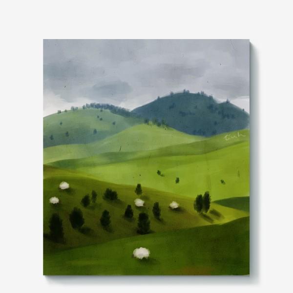 Холст «Пейзаж с овцами»