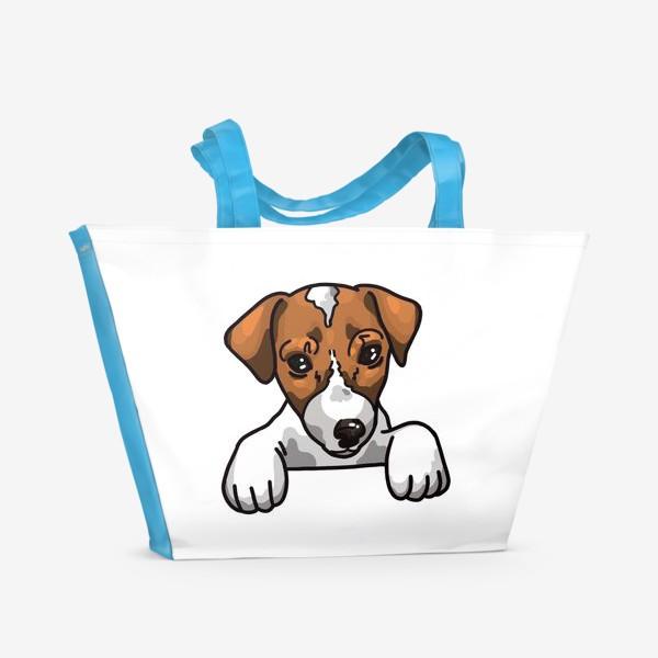 Пляжная сумка «иллюстрация милый Джек Рассел »