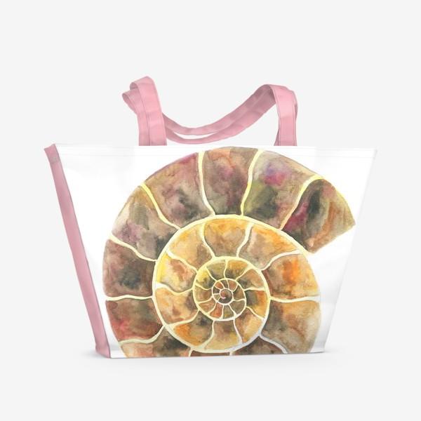 Пляжная сумка «Аммонит, доисторическая улитка»