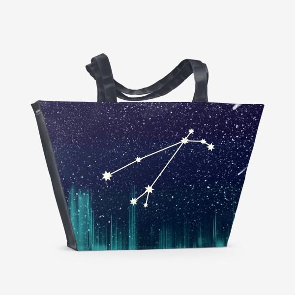 Пляжная сумка «Зодиак Овен. Северное сияние»