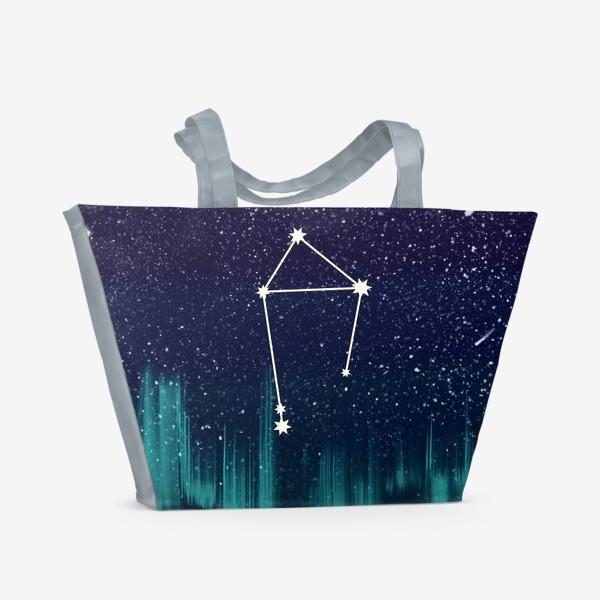 Пляжная сумка «Зодиак Весы. Северное сияние»