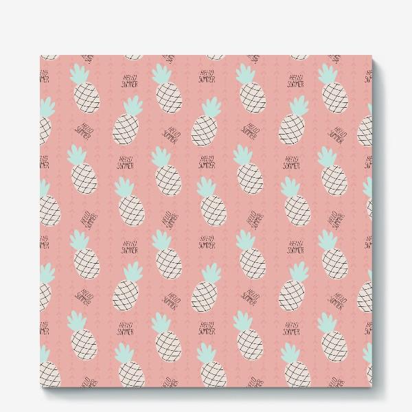 Холст «паттерн с ананасами в стиле дудл на розовом фоне »