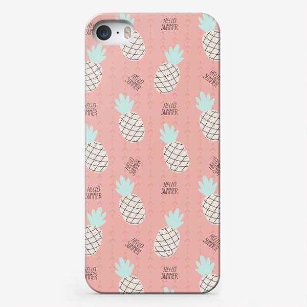 Чехол iPhone «паттерн с ананасами в стиле дудл на розовом фоне »