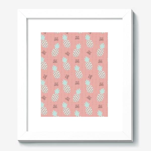 Картина «паттерн с ананасами в стиле дудл на розовом фоне »