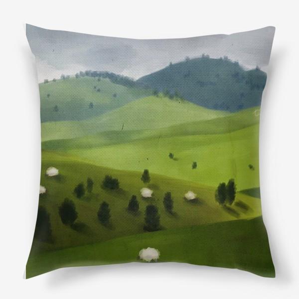 Подушка «Пейзаж с овцами»